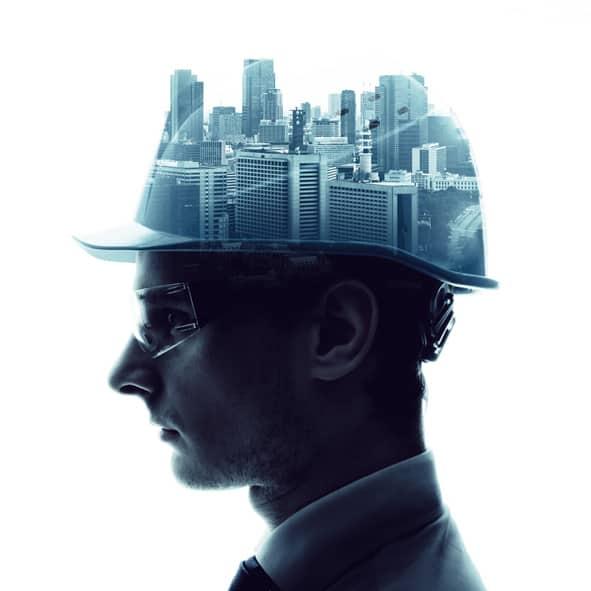 Engineer & urban cityscape